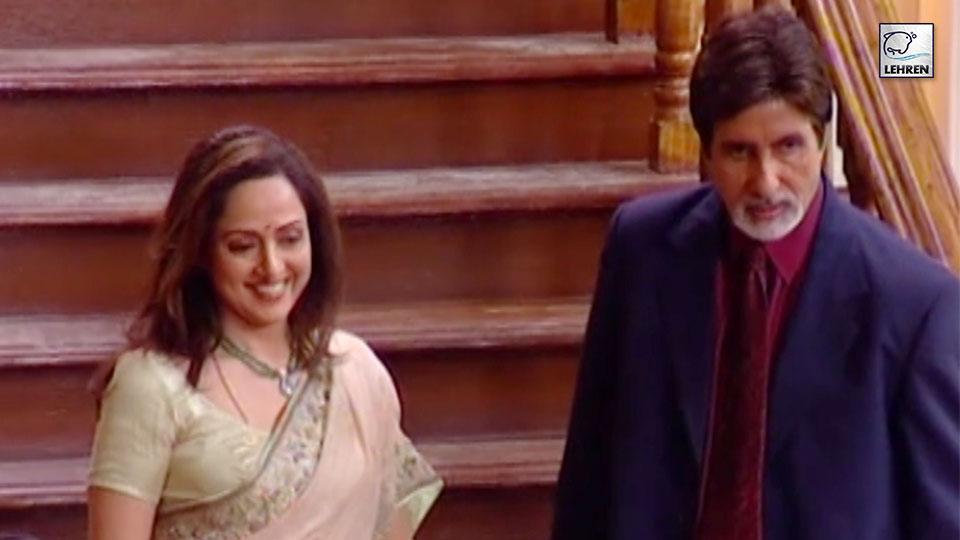Amitabh Bachchan,Hema Malini On The Sets Of Baghban