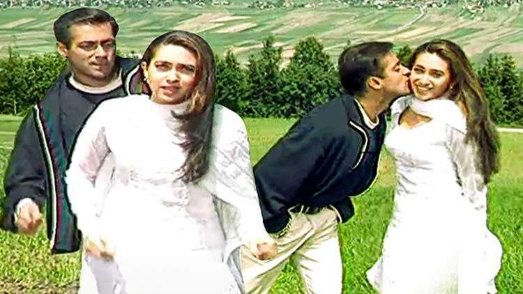 Salman Khan, Karishma Kapoor Picturising The Song Chori Chori Sapno Mein From The Film Chal Mere Bhai
