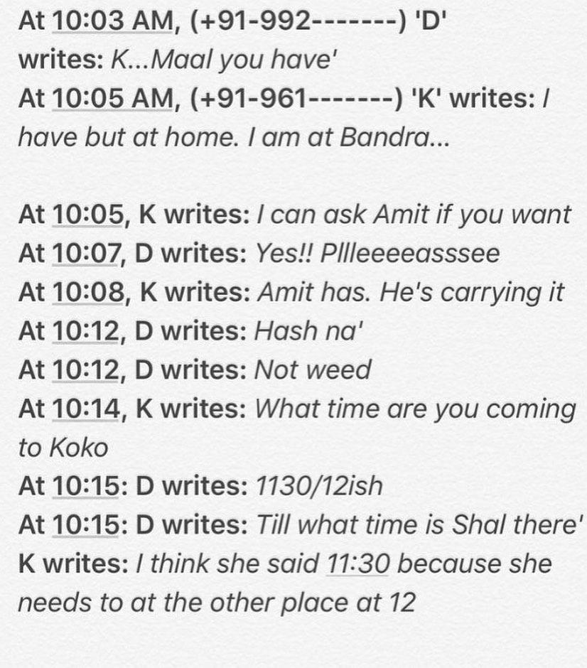 Deepika Padukone Drug Chats