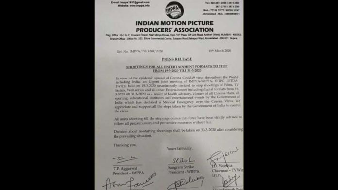 Coronavirus Scare: No shooting allowed for films, TV & web series till March 31