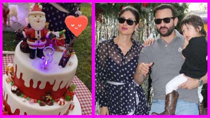 Kareena and Saif Ali Khan's son Taimur Ali Khan celebrates his birthday with a Christmas themed birthday cake