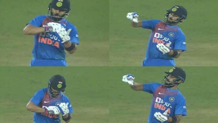 Kohli mocks WI bowler by imitating his 'notebook' celebration after slamming 6