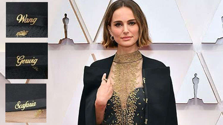 Natalie Portman Pays A Tribute To Snubbed Female Directors Through Her Gown Embroidery at the Oscars