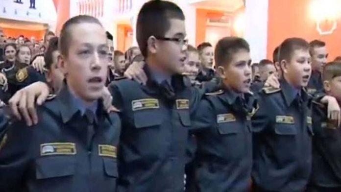 Russian military cadets sing 'Ae watan, Humko Teri Kasam'