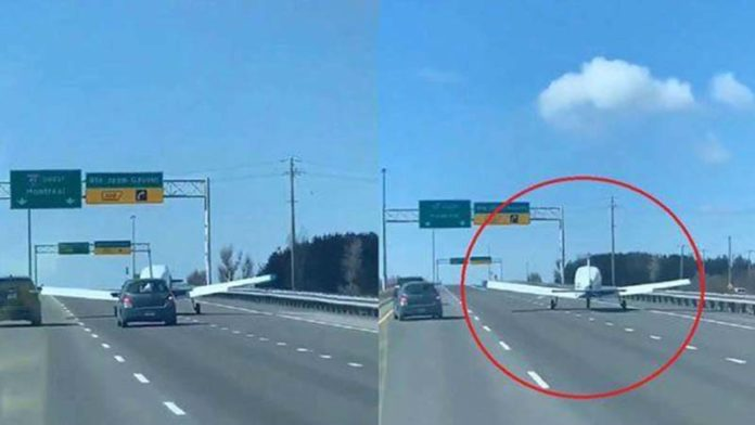 Video: Light aircraft lands on Canada highway, traffic continues to move