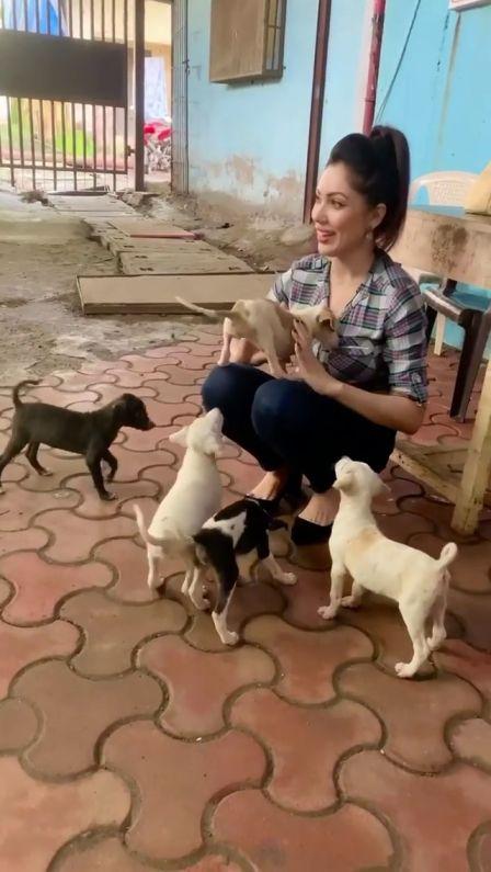 Munmun Dutta Play With Rescue Puppies On Sets Of Taarak Mehta Ka Ooltah Chashmah
