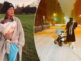 Baby ZiGi Enjoys Her First Snow As Mom Gigi Hadid Takes Her On A Stroll