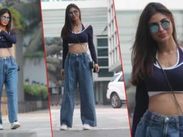 Mouni Roy turns heads in a blue crop top and denim pants