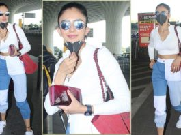 Rakul Preet Singh opts for multi-colored denim pants with a white tank top